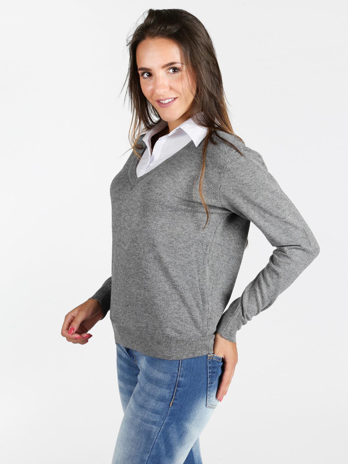 codice promozionale 108a2 b754d Pullover con colletto a camicia solada | MecShopping