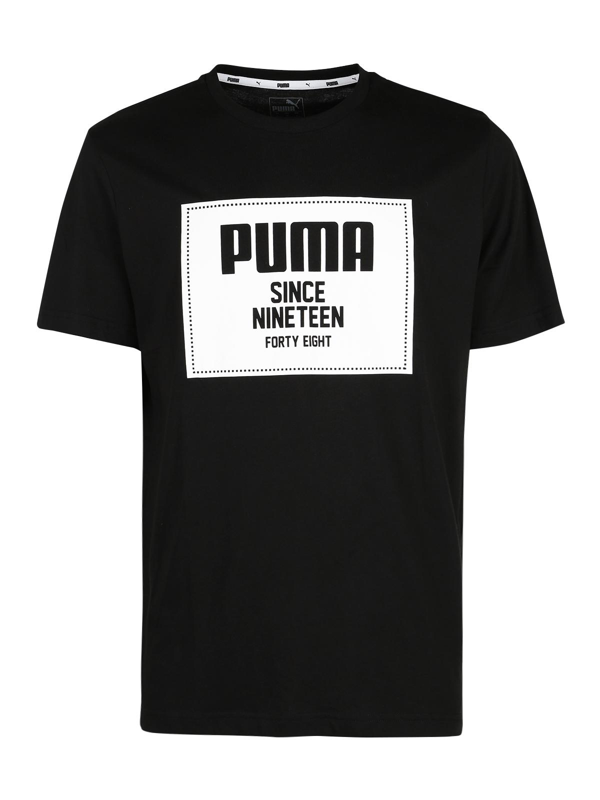 Rebel block basic Tee T shirt nera con stampa puma