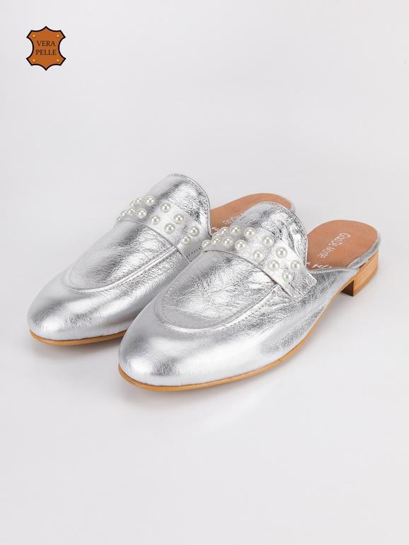Sabot di pelle con perle argento gaia de monte | MecShopping