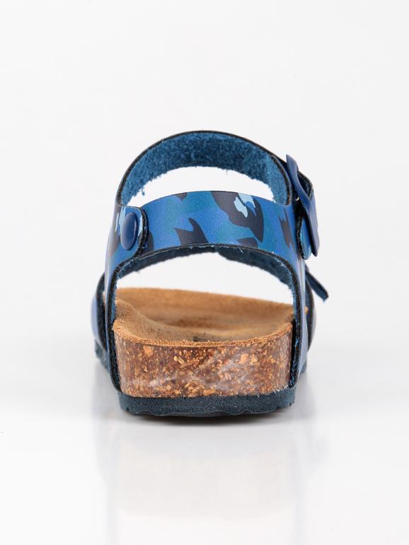 Sandali anatomici in pelle con stampa mimetica