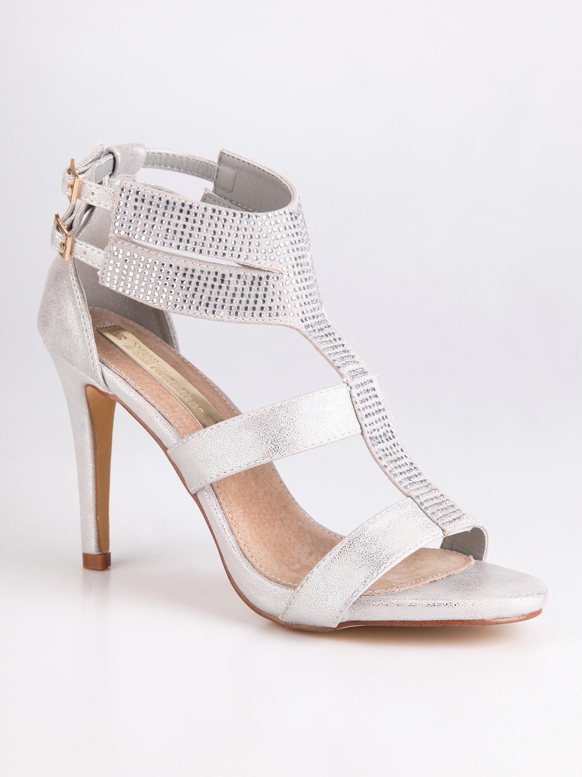 Sandali argento con tacco e strass solada | MecShopping