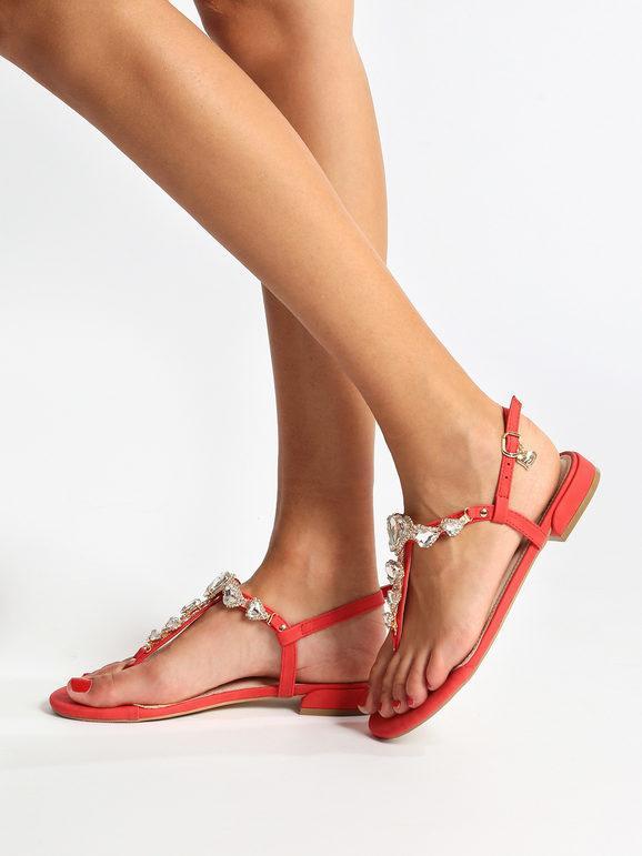Sandali gioiello rossi con strass braccialini   MecShopping
