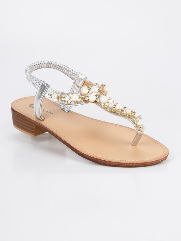marchi riconosciuti meticolosi processi di tintura buon servizio Sandali infradito con perle e strass - argento solada ...