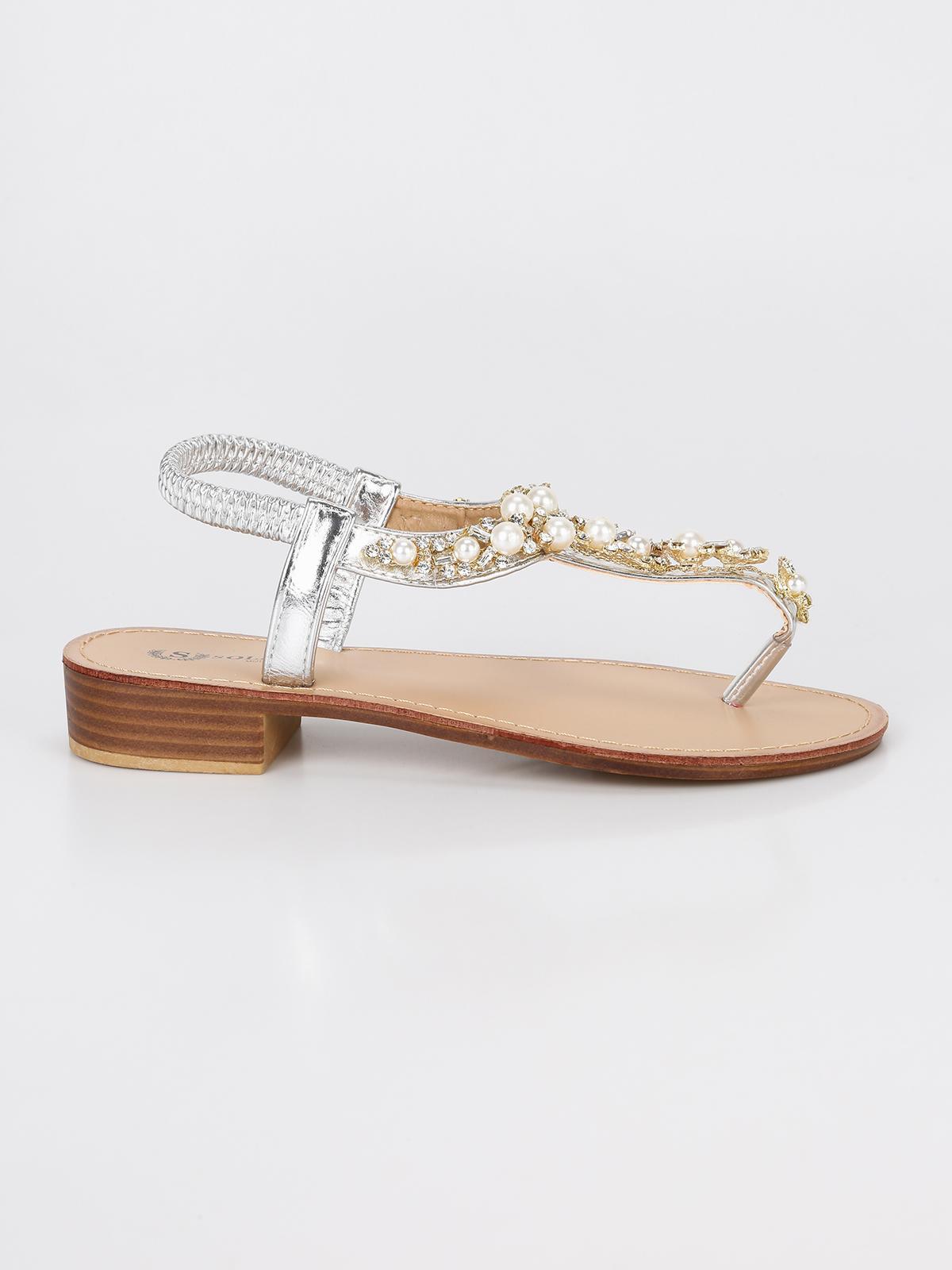 00e8157d34 Sandali infradito con perle e strass - argento solada | MecShopping
