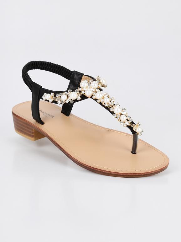 Acquista autentico all'ingrosso online offrire sconti Sandali infradito con perle e strass - nero solada   MecShopping