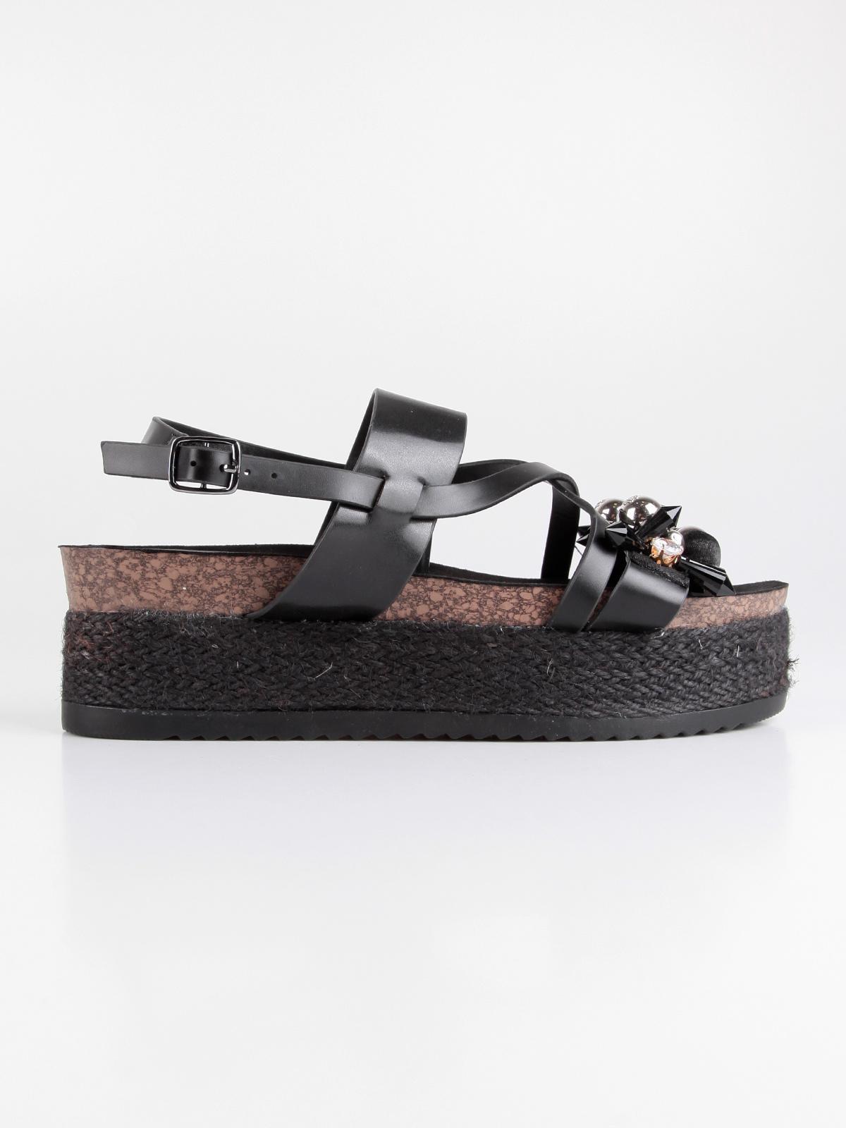 bc708c3130 Sandali platform neri con borchie e strass onyx   MecShopping