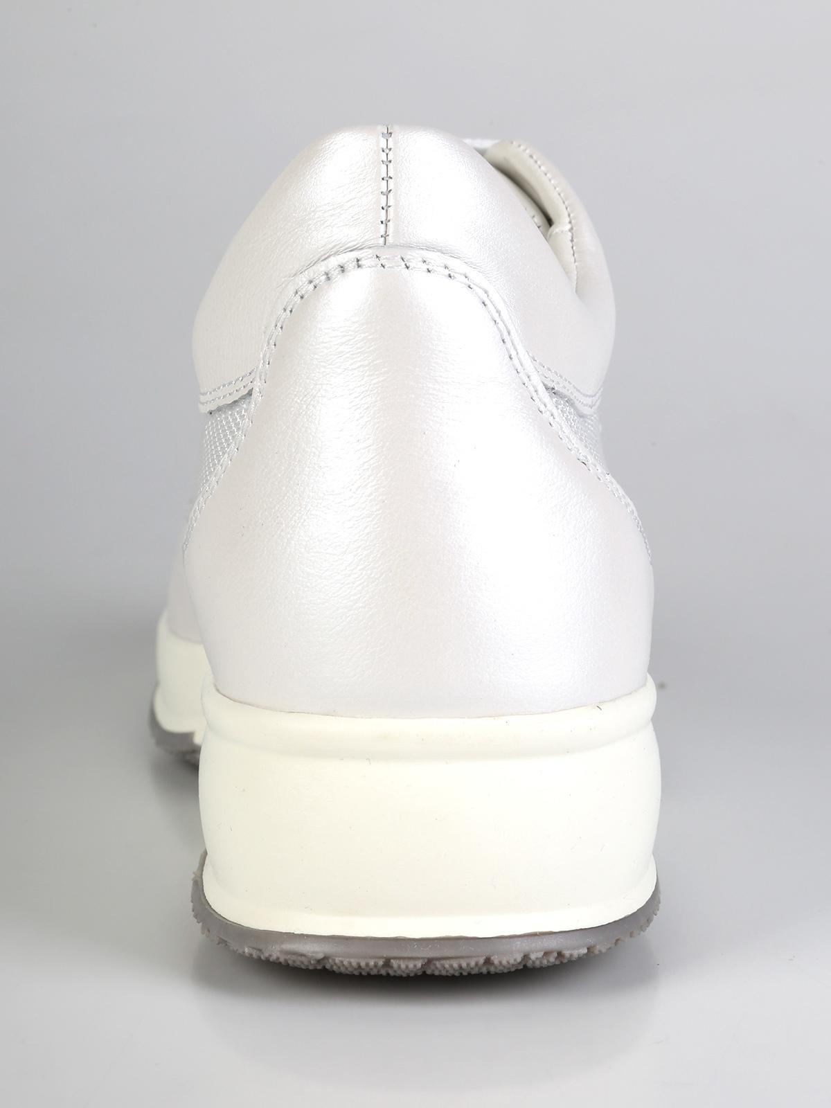 Scarpe casual bianche in pelle e tessuto con zeppa interna