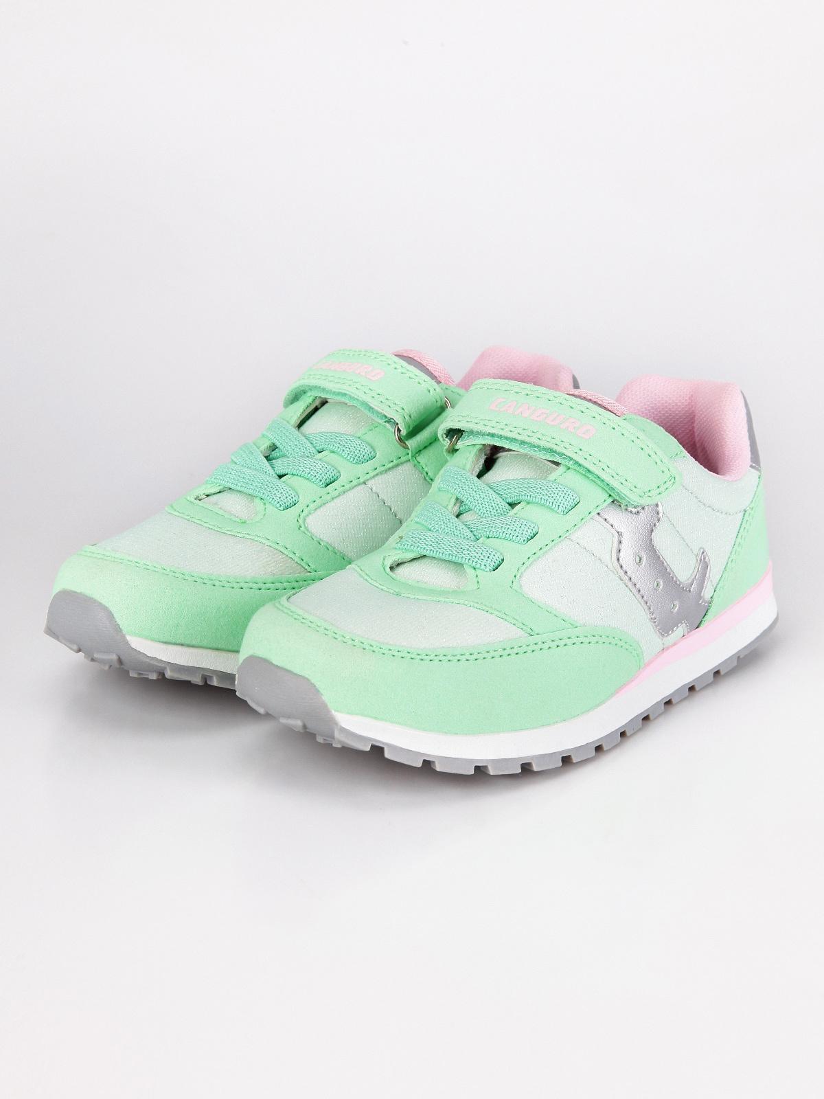 CANGURO Scarpe sneakers con bande elastiche e strappo Bambina fuxia//verde