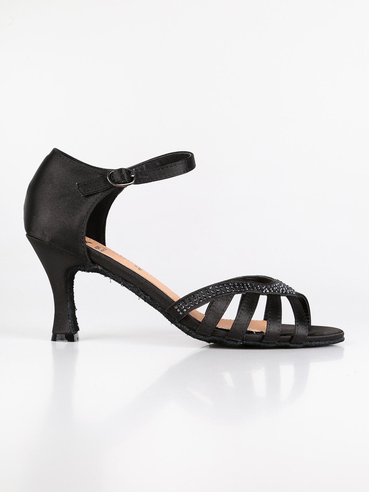 sandalo Scarpe da ballo Tacco Rocchetto Chiusura Cinturino nere Donna