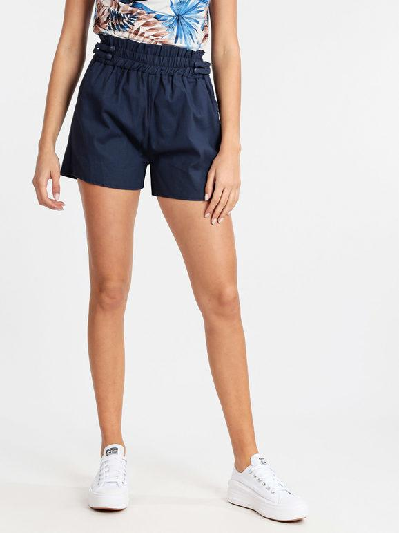Shorts a vita alta in cotone donna