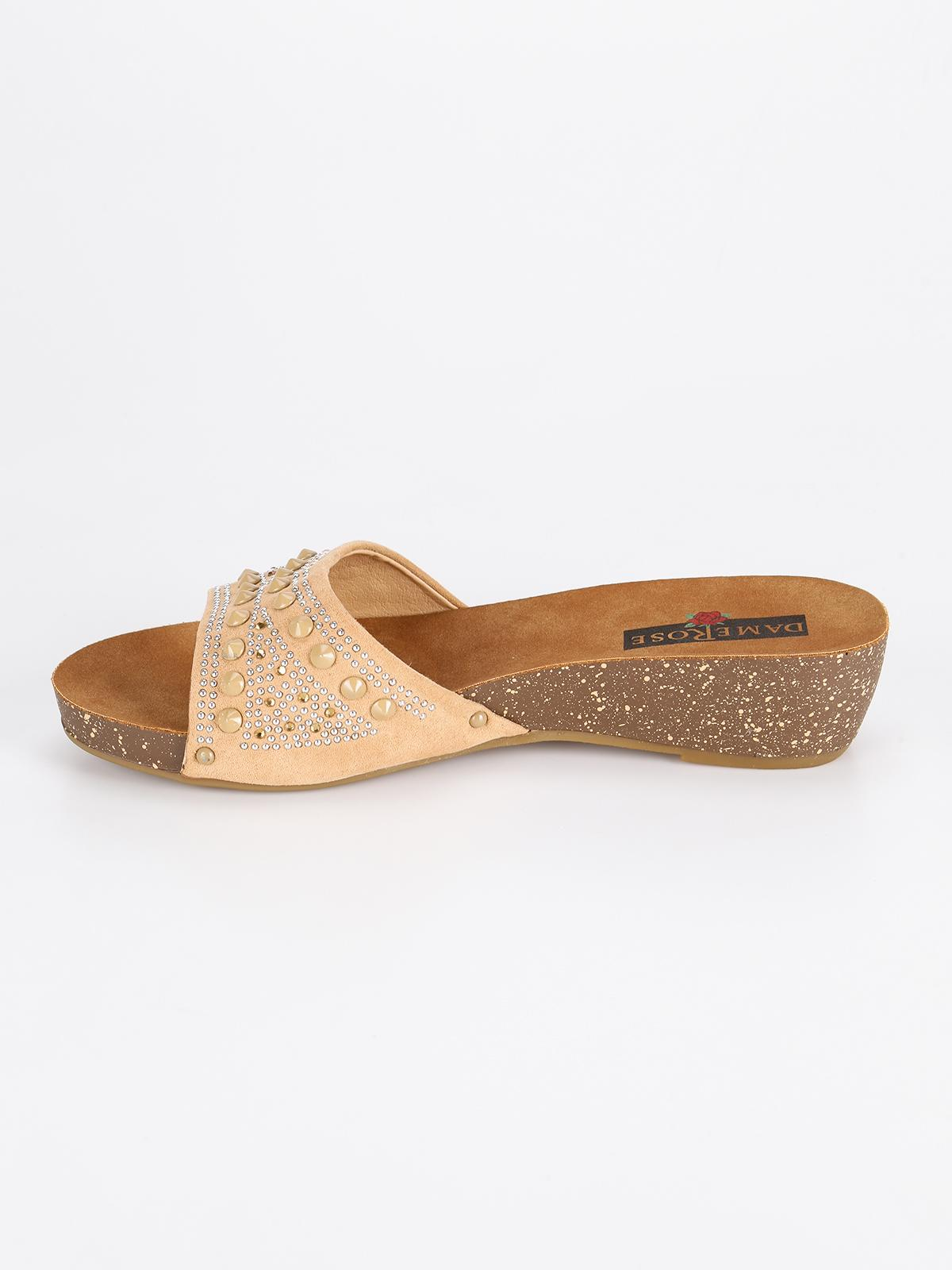 dame rose Slippers with wedge with studs | MecShopping