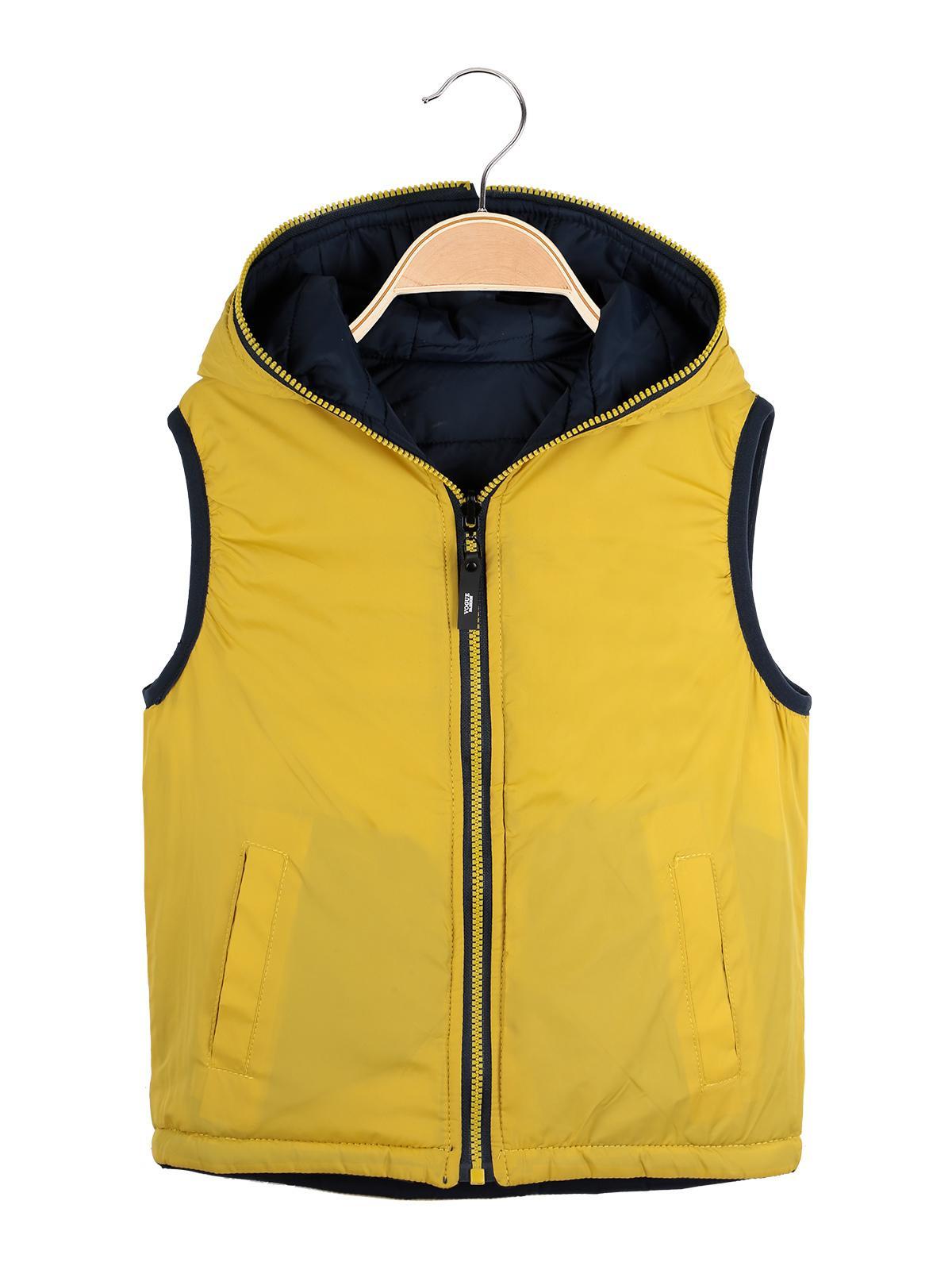 detailed look 741c7 d3352 Smanicato imbottito con cappuccio - reversibile blu/giallo ...