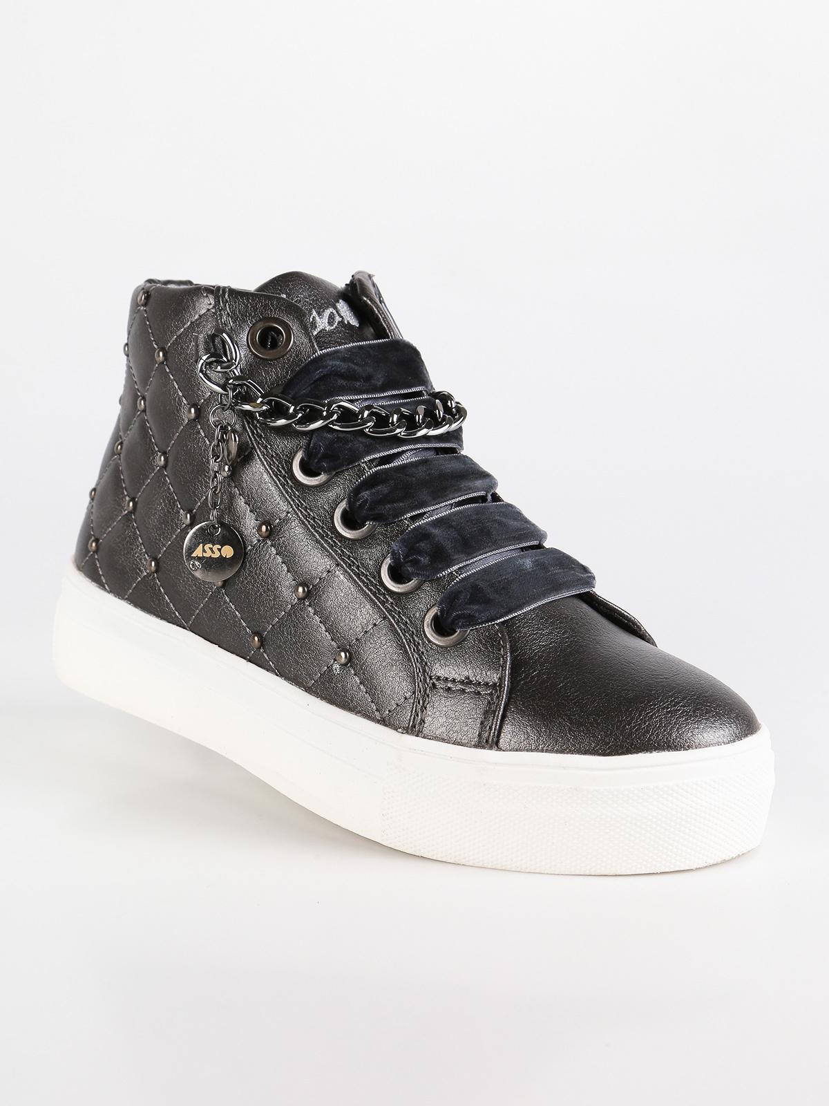 Sneakers In Pelle Platform Con Ecopelo