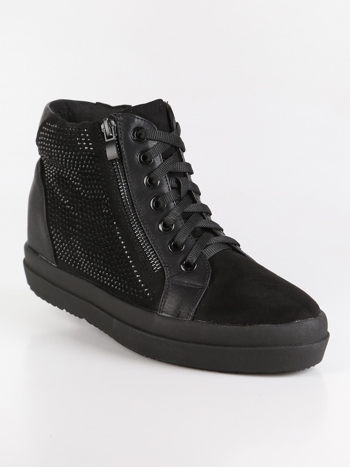 risparmia fino all'80% sulle immagini di piedi di vendita calda reale Sneakers alte con zeppa interna e strass - nero solada ...