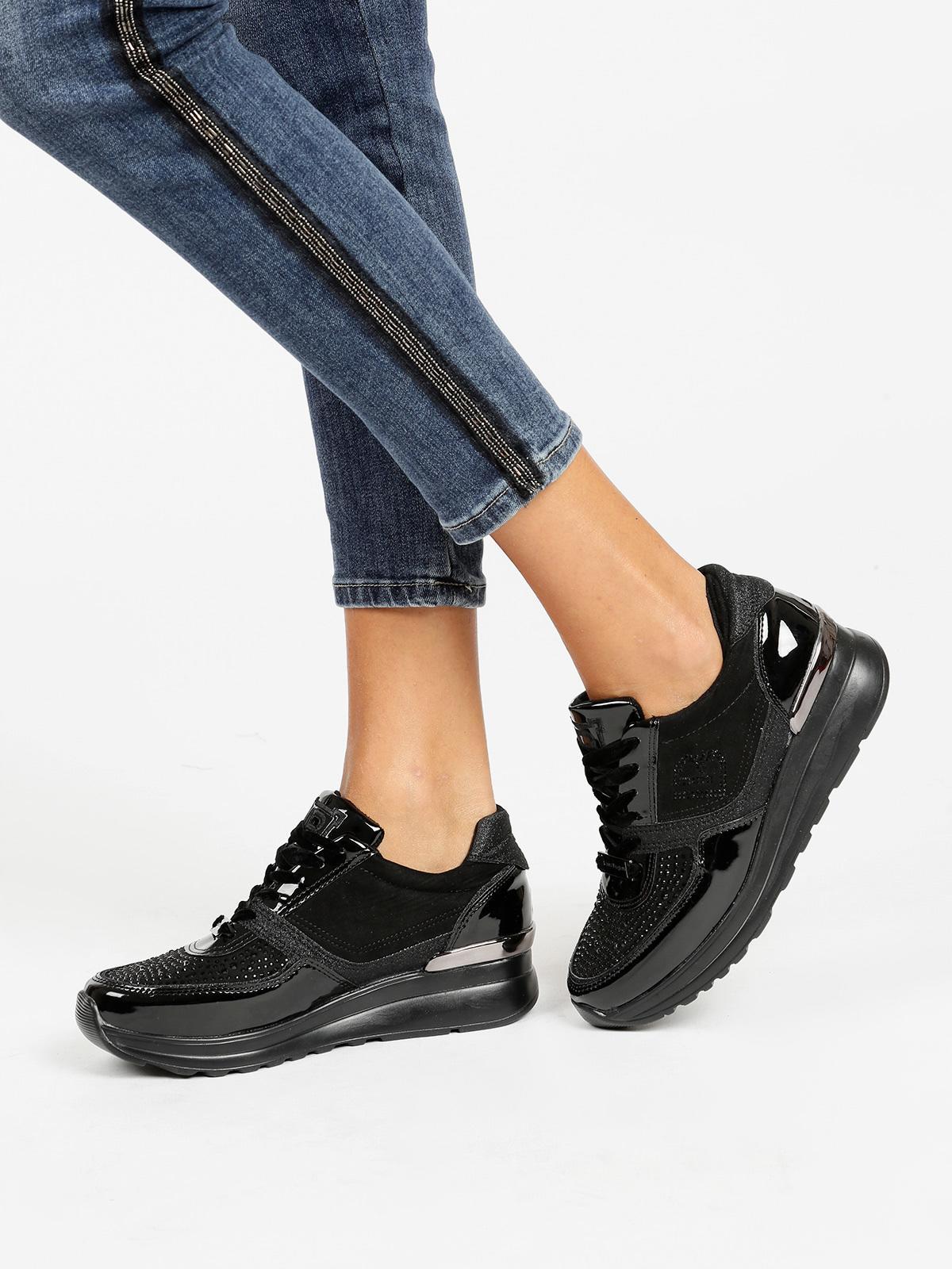 066f2eea27 Sneakers con zeppa e strass - nero laura biagiotti | MecShopping