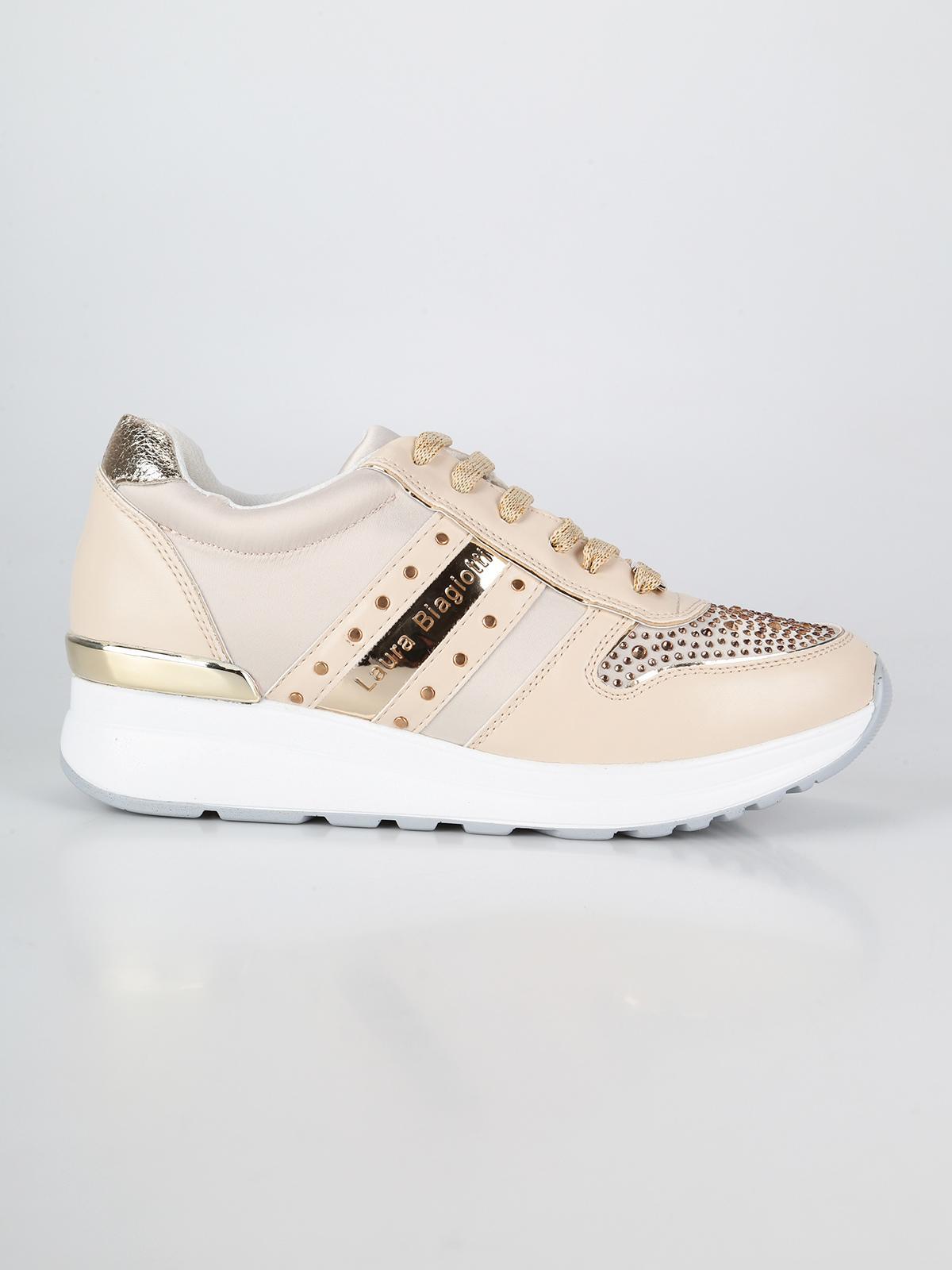 dettagli Sneakers strass tinta chiusura tela e con