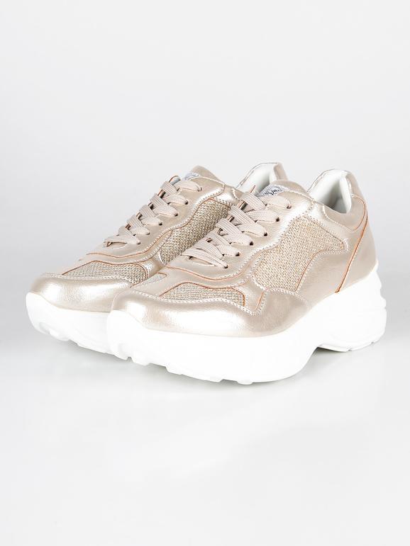Sneakers oro con zeppa alta queen helena | MecShopping