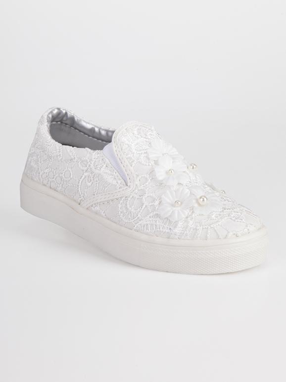 Sneakers senza lacci con ricami e fiori asso | MecShopping
