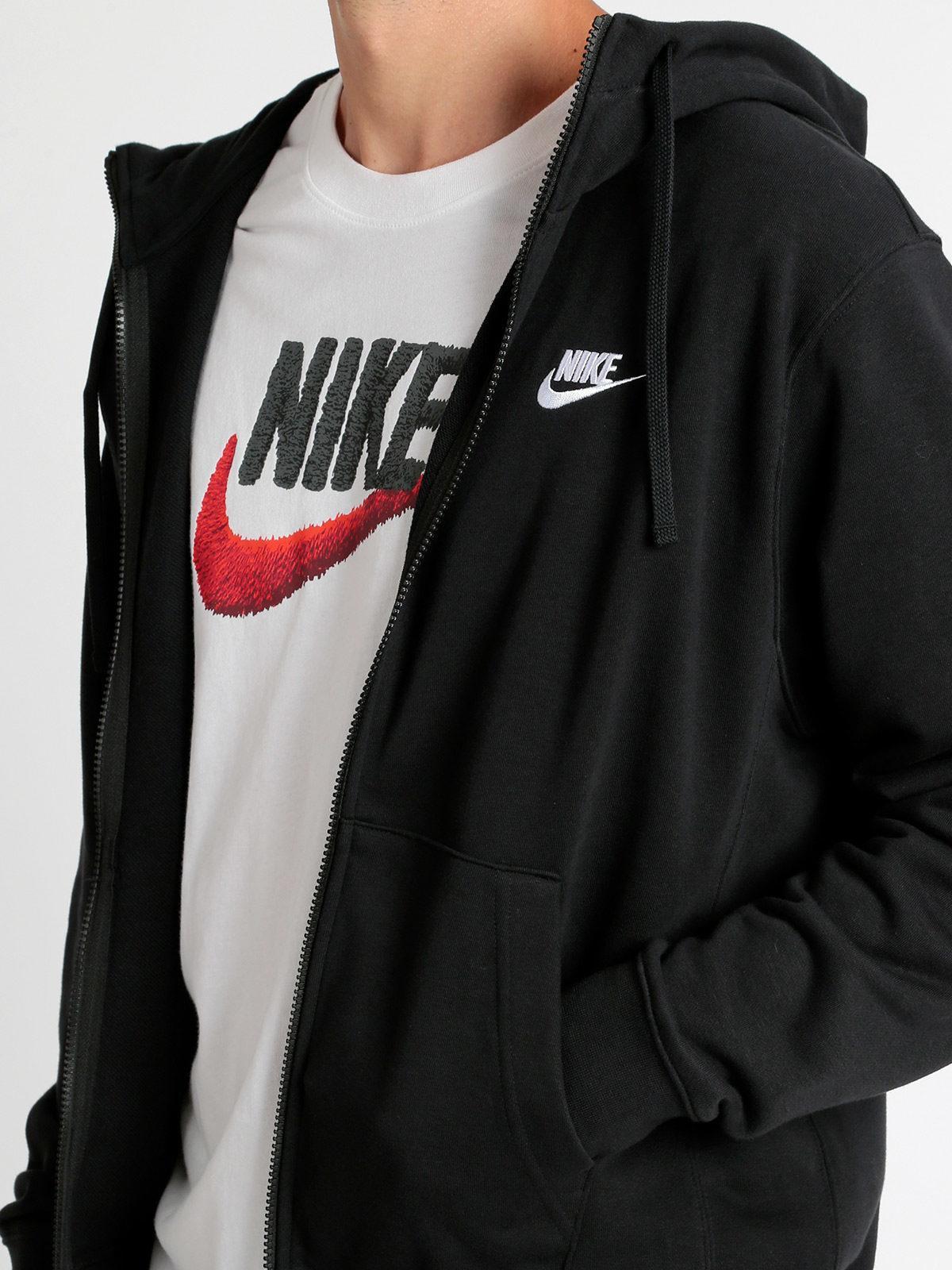 new style 02cd2 cc6ca Sportswear club - Felpa nera full zip con cappuccio nike ...
