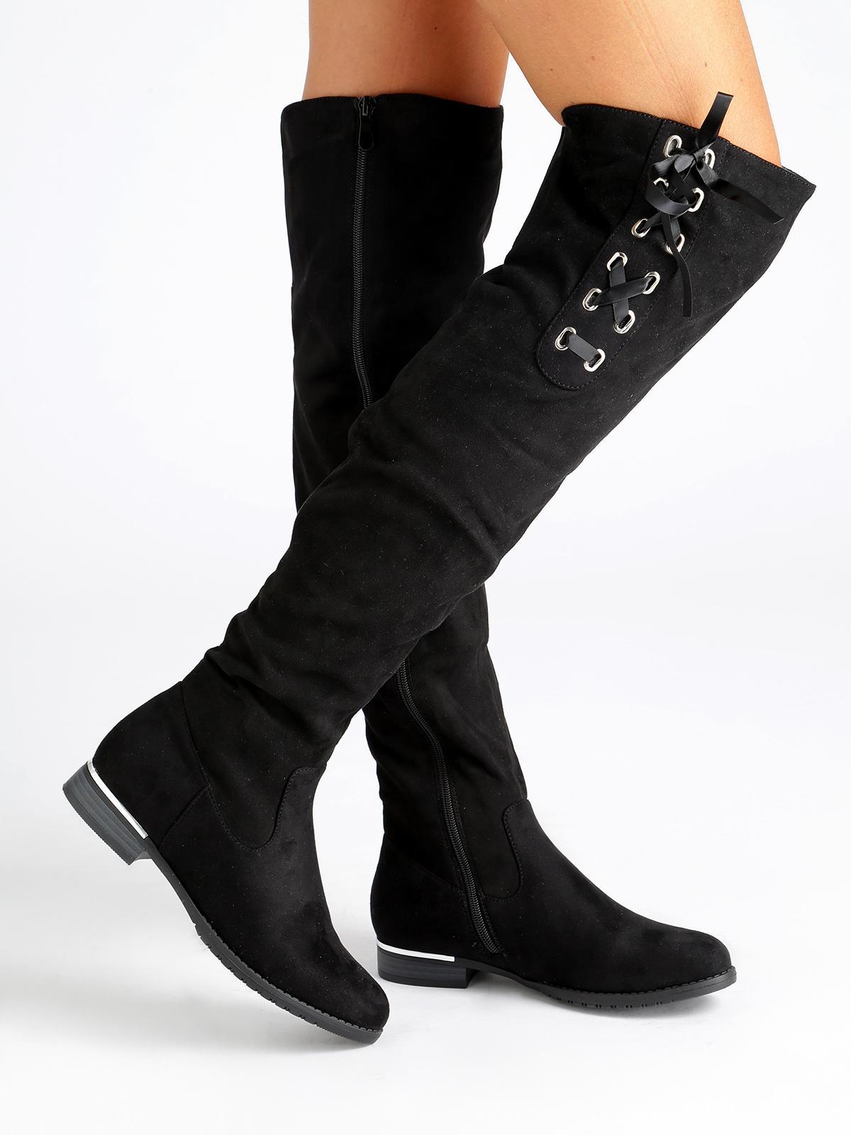 Stivali alti con intrecci su gambale nero lisa w | MecShopping