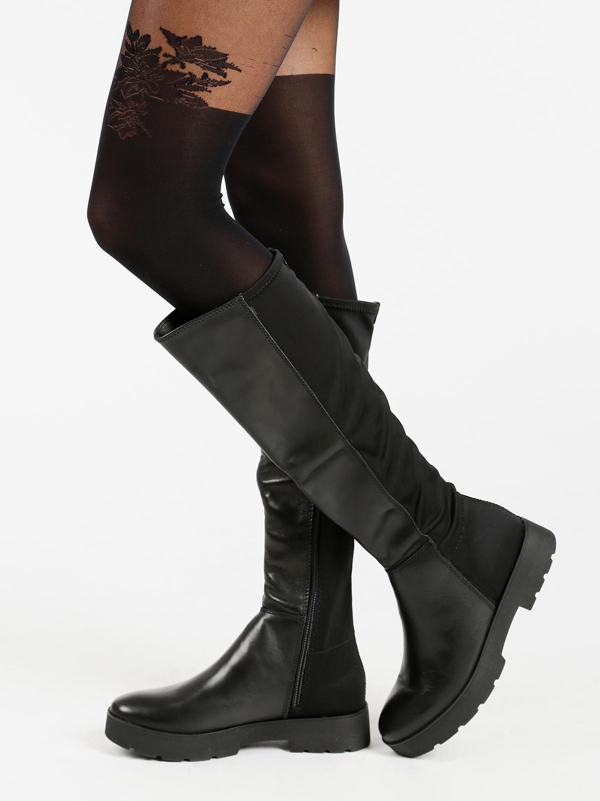 Stivali alti in pelle con tacco basso franco bruni | MecShopping