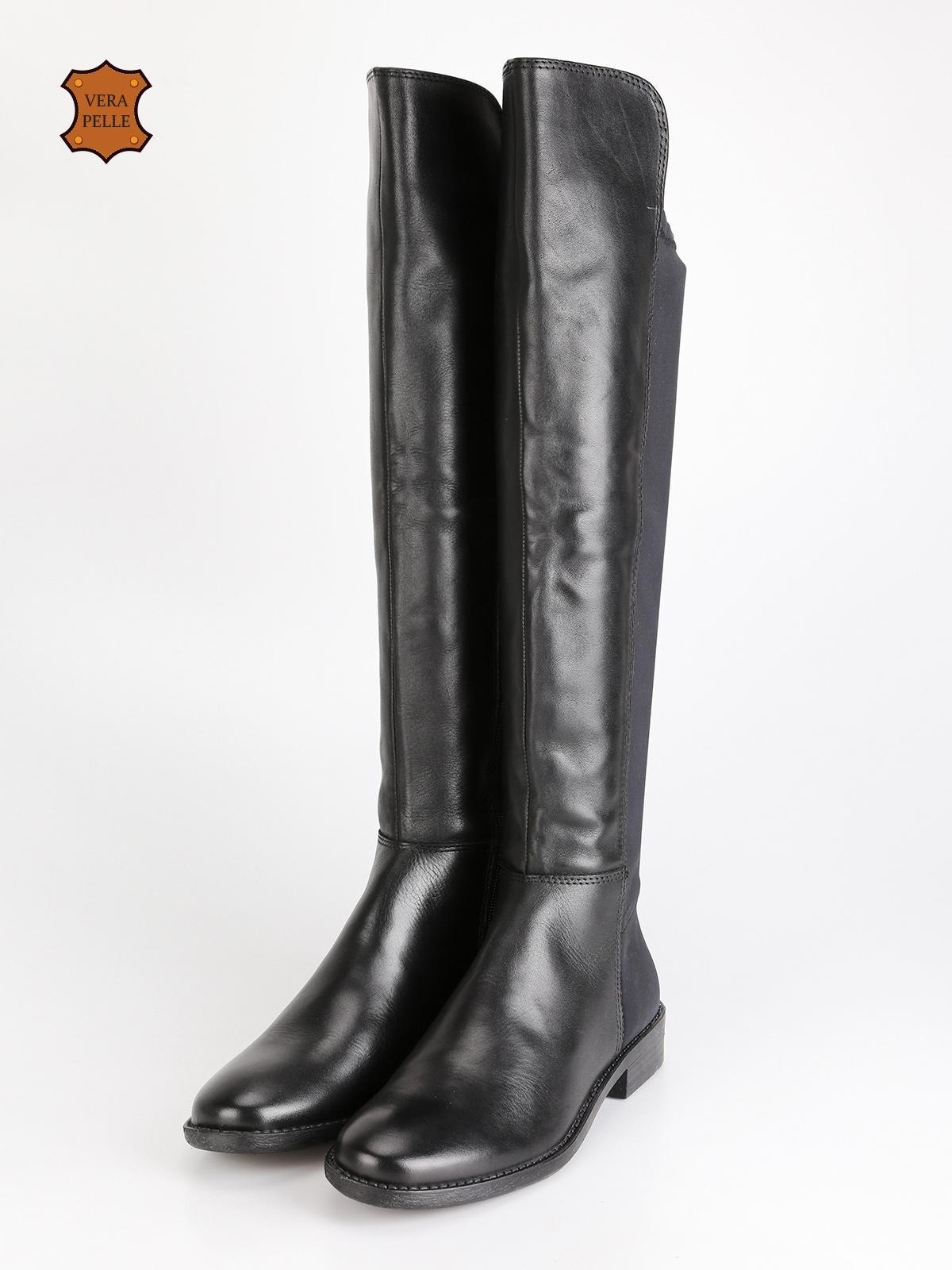 Stivali alti in pelle e tessuto franco bruni | MecShopping