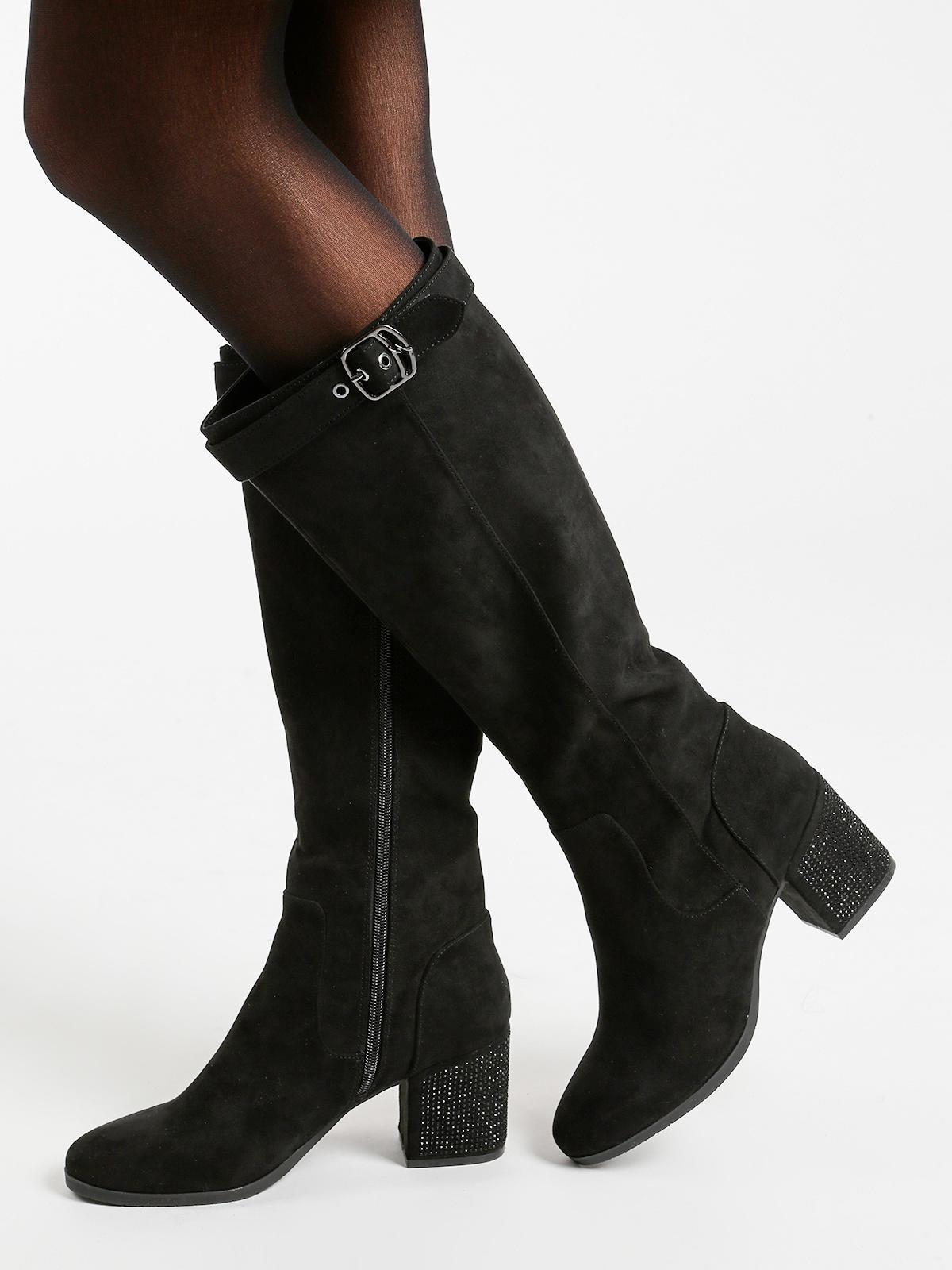 ricco e magnifico vendita calda genuina di modo attraente Stivali neri con tacco e strass gattinoni | MecShopping