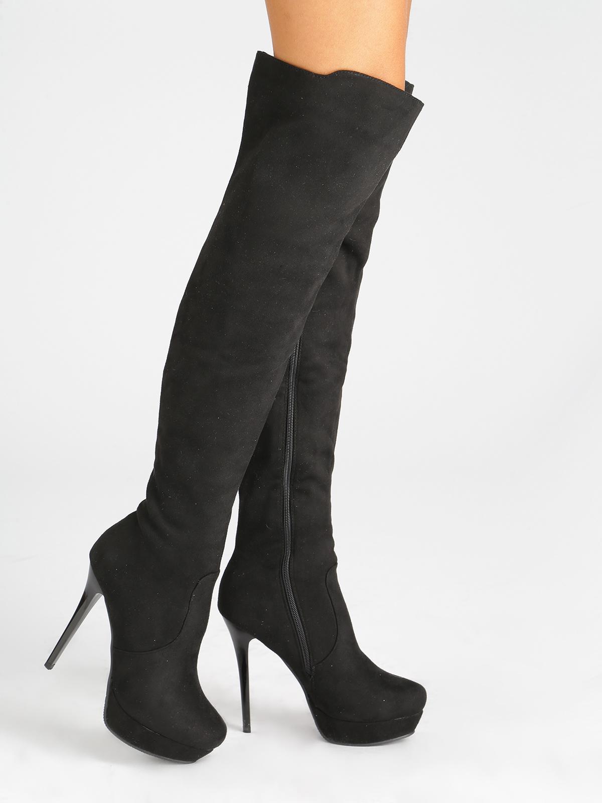Stivali sopra il ginocchio con tacco a spillo e plateau