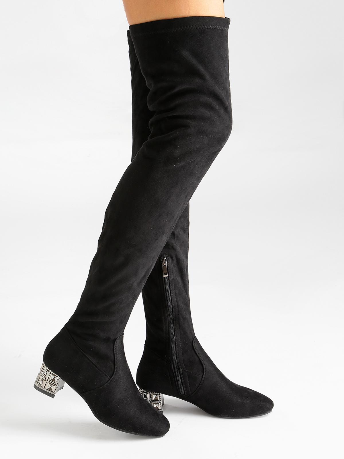 f3e43b592b Stivali sopra il ginocchio in tessuto scamosciato - Nero fiori ...