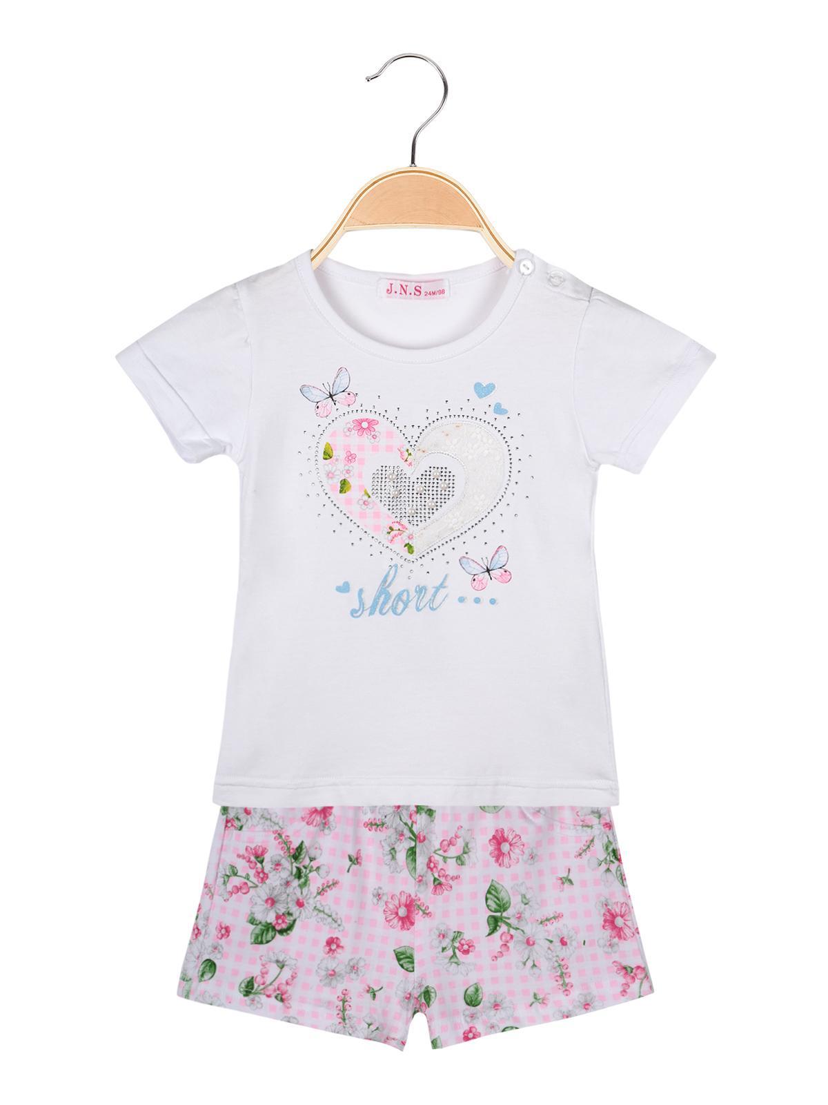 T-shirt bianca con cuore e strass + shorts a quadri con ...