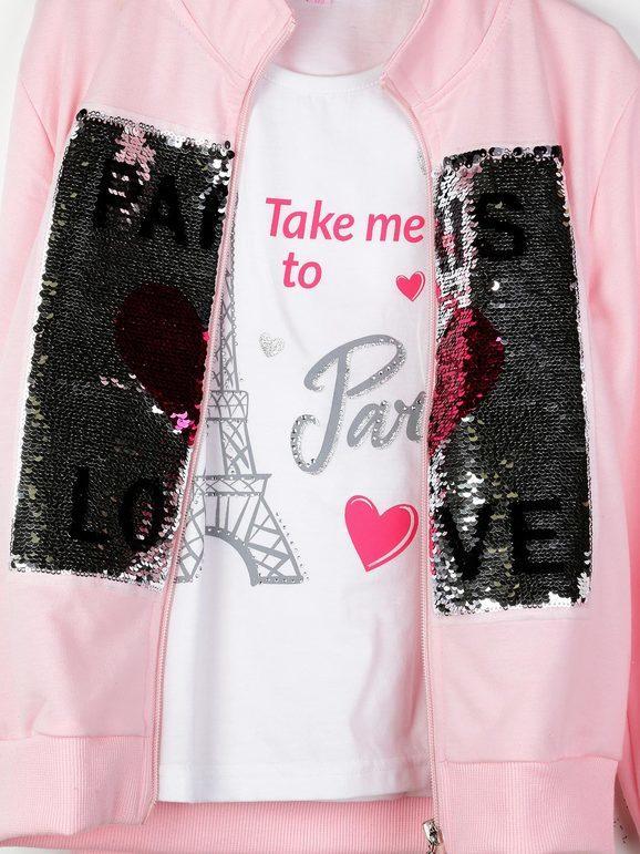 T-shirt + felpa con paillettes + pantaloni tuta