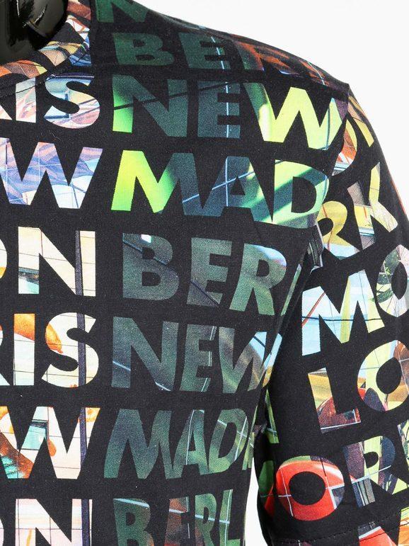 T-shirt in cotone con stampa scritte colorate