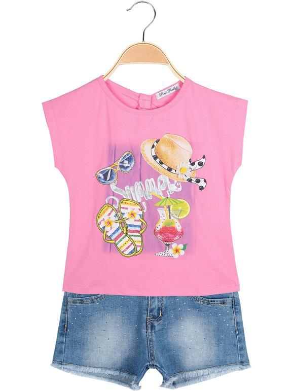 Vestiti Bambini.Completo Estivo.T-shirt con Stampa e Short Polsino effetto Jeans