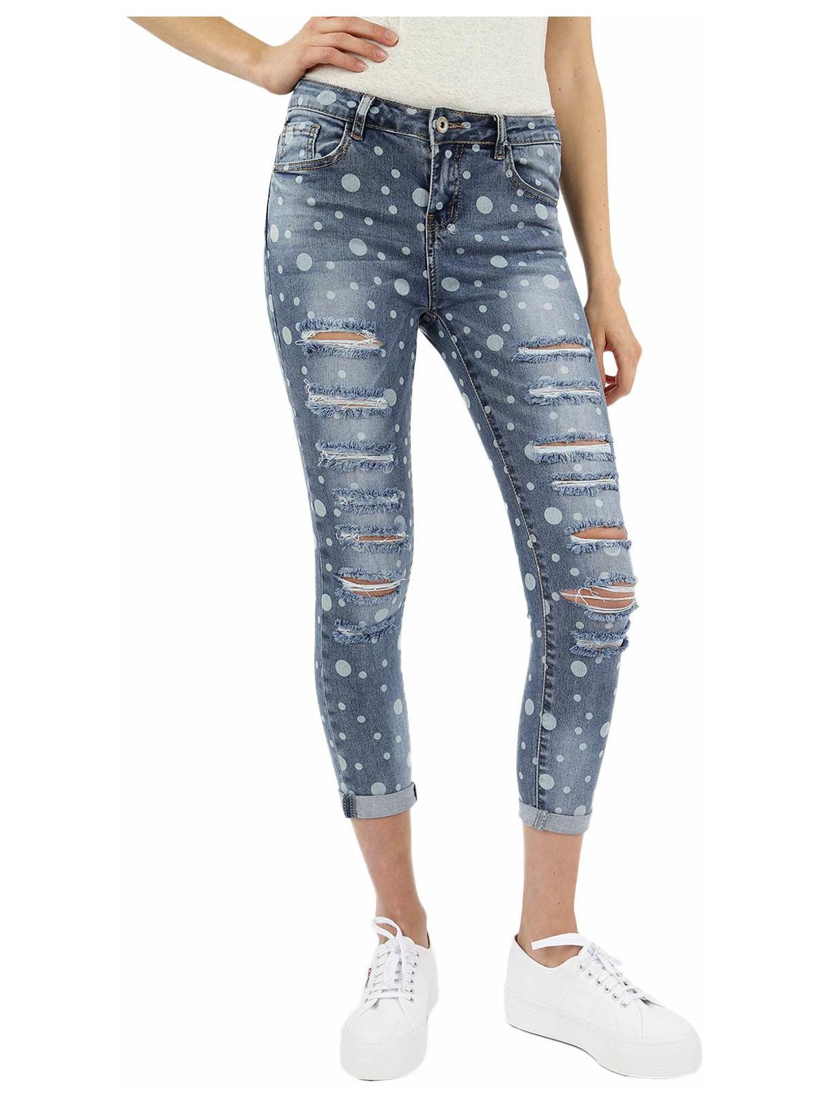 Jeans Boyfriend a Vita Regular con Strappi Donna find