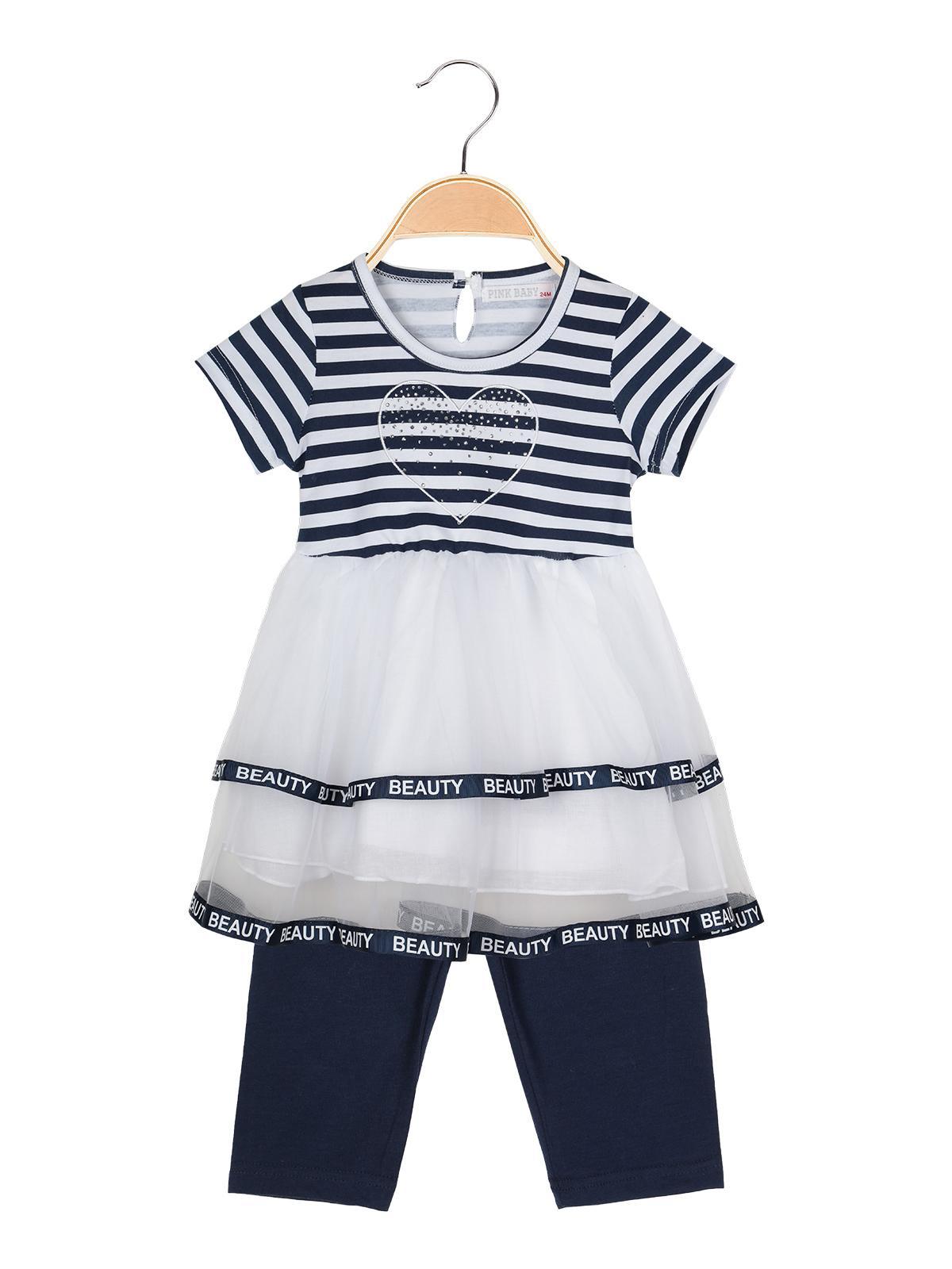sports shoes 18d6e 13db1 Vestito a righe con tulle + leggings - completo 2 pezzi blu ...