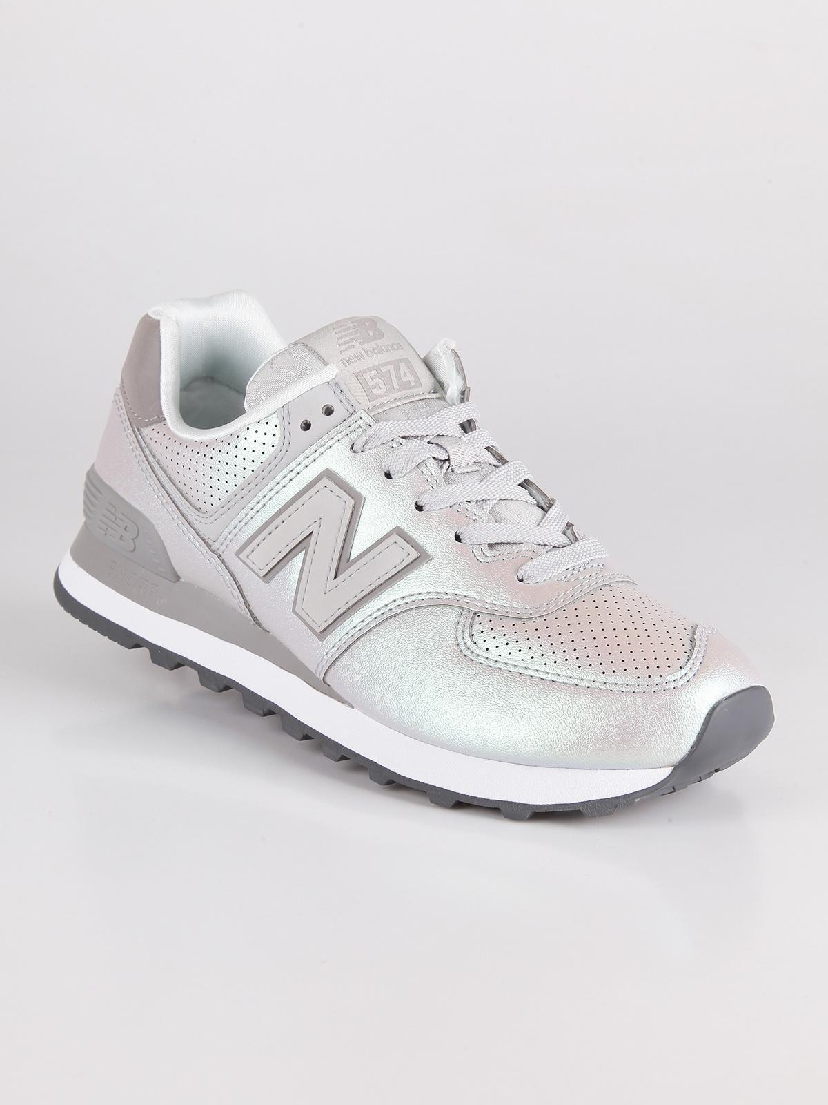 new balance donna pelle bianca argento