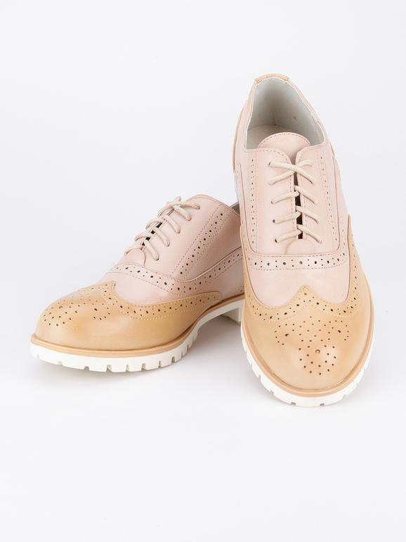 Zapatos con cordones en piel sintética de dos tonos